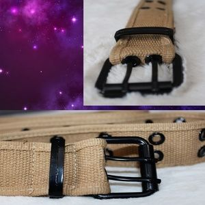 Other - 3/$15Tan Fabric Belt with Black Grommets